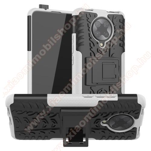 OTT! VROOM műanyag védő tok / hátlap - FEHÉR - AUTÓGUMI MINTÁS - szilikon betétes, asztali tartó funkciós, ERŐS VÉDELEM! - Xiaomi Redmi K30 Pro / Xiaomi Redmi K30 Pro Zoom / Xiaomi Poco F2 Pro