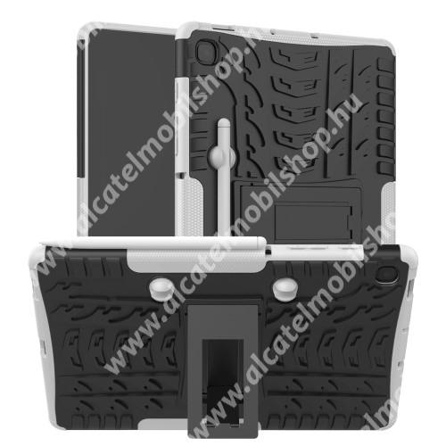 OTT! VROOM műanyag védő tok / hátlap - FEHÉR - AUTÓGUMI MINTÁS - szilikon betétes, asztali tartó funkciós, ceruza tartó, ERŐS VÉDELEM! - SAMSUNG SM-P610 Galaxy Tab S6 Lite (Wi-Fi) / SAMSUNG SM-P615 Galaxy Tab S6 Lite (LTE)