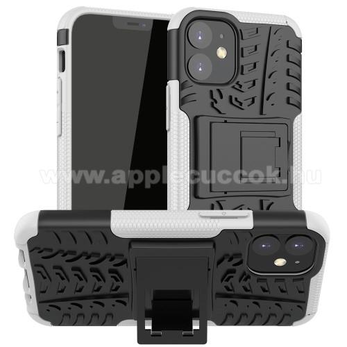 OTT! VROOM műanyag védő tok / hátlap - FEHÉR - AUTÓGUMI MINTÁS - szilikon betétes, asztali tartó funkciós, ERŐS VÉDELEM! - APPLE iPhone 12 mini