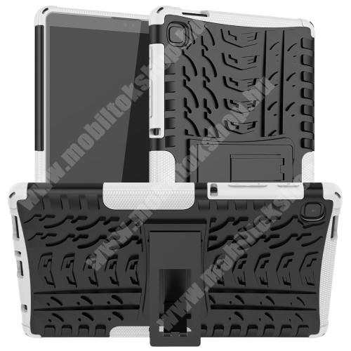 OTT! VROOM műanyag védő tok / hátlap - FEHÉR - AUTÓGUMI MINTÁS - szilikon betétes, asztali tartó funkciós, ERŐS VÉDELEM! - SAMSUNG Galaxy Tab A7 Lite (SM-T220 / SM-T225)