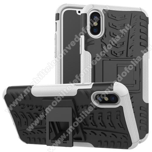 OTT! VROOM műanyag védő tok / hátlap - FEHÉR - AUTÓGUMI MINTÁS - szilikon betétes, asztali tartó funkciós, ERŐS VÉDELEM! - APPLE iPhone X / APPLE iPhone XS