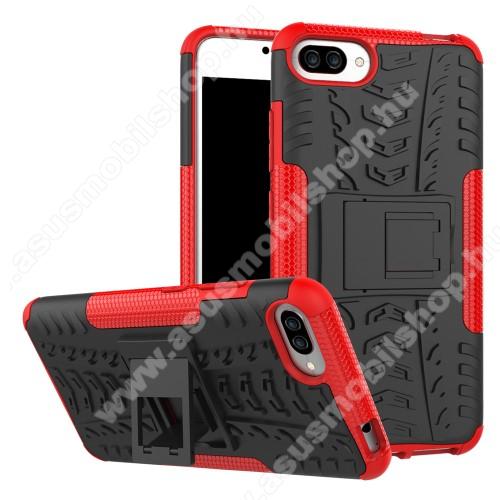 OTT! VROOM műanyag védő tok / hátlap - FEKETE / PIROS - AUTÓGUMI MINTÁS - szilikon betétes, asztali tartó funkciós, ERŐS VÉDELEM! - ASUS Zenfone 4 Max (ZC554KL) / ASUS Zenfone 4 Max Plus (ZC554KL) / ASUS Zenfone 4 Max Pro (ZC554KL)