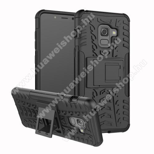 OTT! VROOM műanyag védő tok / hátlap - FEKETE - AUTÓGUMI MINTÁS - szilikon betétes, asztali tartó funkciós, ERÕS VÉDELEM! - SAMSUNG Galaxy A8 (2018)