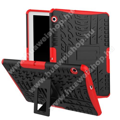 HUAWEI MediaPad T3 10OTT! VROOM műanyag védő tok / hátlap - FEKETE / PIROS - AUTÓGUMI MINTÁS - szilikon betétes, asztali tartó funkciós, ERŐS VÉDELEM! - HUAWEI MediaPad T3 10