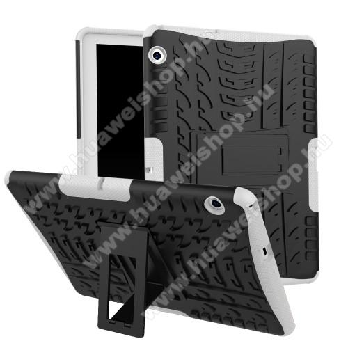 HUAWEI MediaPad T3 10OTT! VROOM műanyag védő tok / hátlap - FEKETE / FEHÉR - AUTÓGUMI MINTÁS - szilikon betétes, asztali tartó funkciós, ERŐS VÉDELEM! - HUAWEI MediaPad T3 10