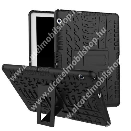 OTT! VROOM műanyag védő tok / hátlap - FEKETE - AUTÓGUMI MINTÁS - szilikon betétes, asztali tartó funkciós, ERŐS VÉDELEM! - HUAWEI MediaPad T3 10