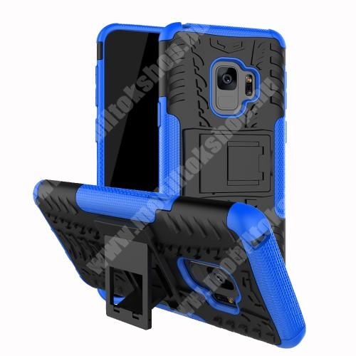 OTT! VROOM műanyag védő tok / hátlap - FEKETE / KÉK - AUTÓGUMI MINTÁS - szilikon betétes, asztali tartó funkciós, ERŐS VÉDELEM! - SAMSUNG SM-G960 Galaxy S9