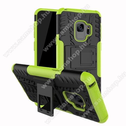 OTT! VROOM műanyag védő tok / hátlap - FEKETE / ZÖLD - AUTÓGUMI MINTÁS - szilikon betétes, asztali tartó funkciós, ERŐS VÉDELEM! - SAMSUNG SM-G960 Galaxy S9