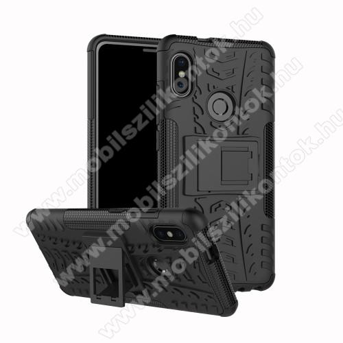 OTT! VROOM műanyag védő tok / hátlap - FEKETE - AUTÓGUMI MINTÁS - szilikon betétes, asztali tartó funkciós, ERŐS VÉDELEM! - Xiaomi Redmi Note 5 Pro (Global version) / Xiaomi Redmi Note 5 (Global version)