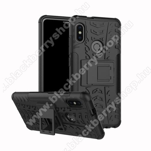 OTT! VROOM műanyag védő tok / hátlap - FEKETE - AUTÓGUMI MINTÁS - szilikon betétes, asztali tartó funkciós, ERŐS VÉDELEM! - Xiaomi Redmi Note 5 Pro (Global version)