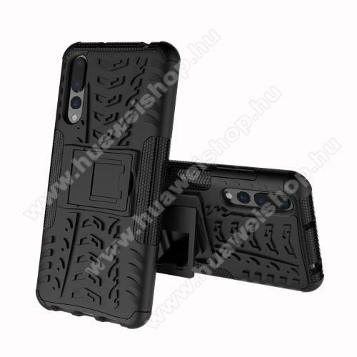 Huawei P20 Pro (2018)OTT! VROOM műanyag védő tok / hátlap - FEKETE - AUTÓGUMI MINTÁS - szilikon betétes, asztali tartó funkciós, ERÕS VÉDELEM! - HUAWEI P20 Pro (2018)