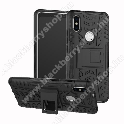 OTT! VROOM műanyag védő tok / hátlap - FEKETE - AUTÓGUMI MINTÁS - szilikon betétes, asztali tartó funkciós, ERŐS VÉDELEM! - Xiaomi Redmi S2