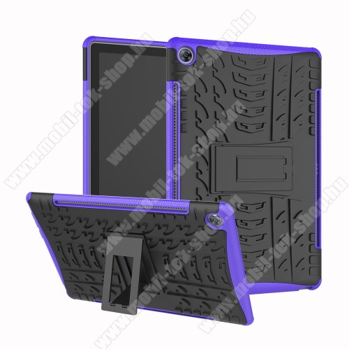 OTT! VROOM műanyag védő tok / hátlap - FEKETE / LILA - AUTÓGUMI MINTÁS - szilikon betétes, asztali tartó funkciós, ERŐS VÉDELEM! - Huawei MediaPad M5 10 (2018) / Huawei MediaPad M5 10 Pro (2018)