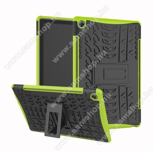 OTT! VROOM műanyag védő tok / hátlap - FEKETE / ZÖLD - AUTÓGUMI MINTÁS - szilikon betétes, asztali tartó funkciós, ERŐS VÉDELEM! - Huawei MediaPad M5 10 (2018) / Huawei MediaPad M5 10 Pro (2018)