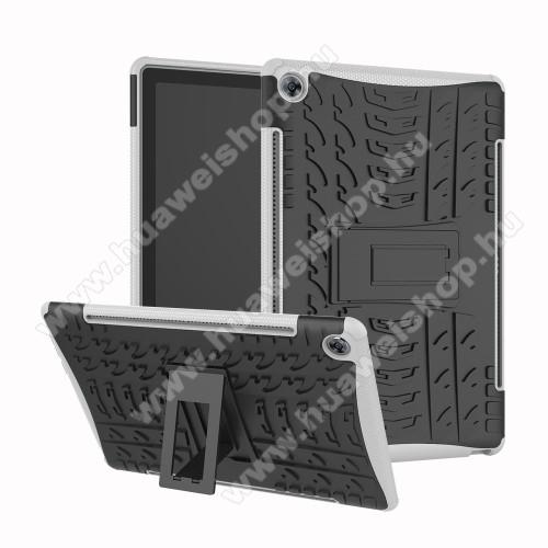 OTT! VROOM műanyag védő tok / hátlap - FEKETE / FEHÉR - AUTÓGUMI MINTÁS - szilikon betétes, asztali tartó funkciós, ERŐS VÉDELEM! - Huawei MediaPad M5 10 (2018) / Huawei MediaPad M5 10 Pro (2018)