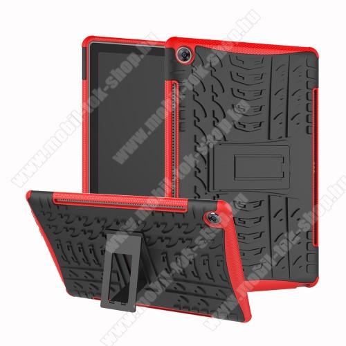 OTT! VROOM műanyag védő tok / hátlap - FEKETE / PIROS - AUTÓGUMI MINTÁS - szilikon betétes, asztali tartó funkciós, ERŐS VÉDELEM! - Huawei MediaPad M5 10 (2018) / Huawei MediaPad M5 10 Pro (2018)
