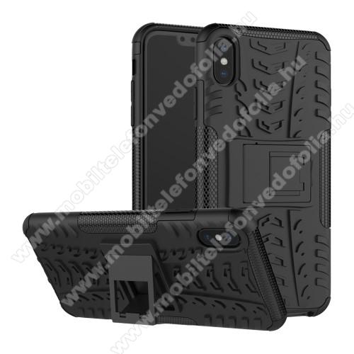 OTT! VROOM műanyag védő tok / hátlap - FEKETE - AUTÓGUMI MINTÁS - szilikon betétes, asztali tartó funkciós, ERŐS VÉDELEM! - APPLE iPhone XS Max