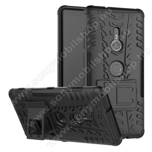 OTT! VROOM műanyag védő tok / hátlap - FEKETE - AUTÓGUMI MINTÁS - szilikon betétes, asztali tartó funkciós, ERŐS VÉDELEM! - Sony Xperia XZ3