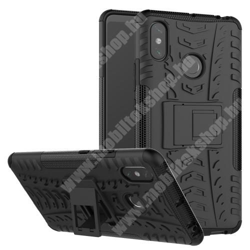 OTT! VROOM műanyag védő tok / hátlap - FEKETE - AUTÓGUMI MINTÁS - szilikon betétes, asztali tartó funkciós, ERŐS VÉDELEM! - Xiaomi Mi Max 3