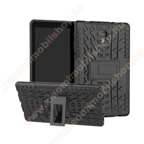 OTT! VROOM műanyag védő tok / hátlap - FEKETE - AUTÓGUMI MINTÁS - szilikon betétes, asztali tartó funkciós, ERŐS VÉDELEM! - SAMSUNG SM-T590 Galaxy Tab A 10.5 Wi-Fi / SAMSUNG SM-T595 Galaxy Tab A 10.5 LTE