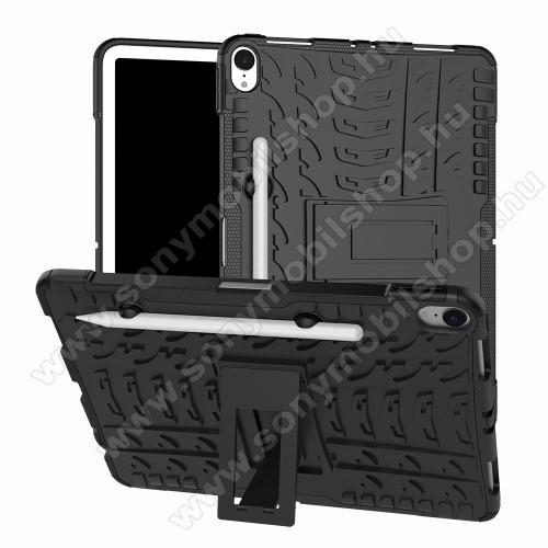 OTT! VROOM műanyag védő tok / hátlap - FEKETE - AUTÓGUMI MINTÁS - szilikon betétes, tolltartó, asztali tartó funkciós, ERŐS VÉDELEM! - APPLE iPad Pro 11 (2018)