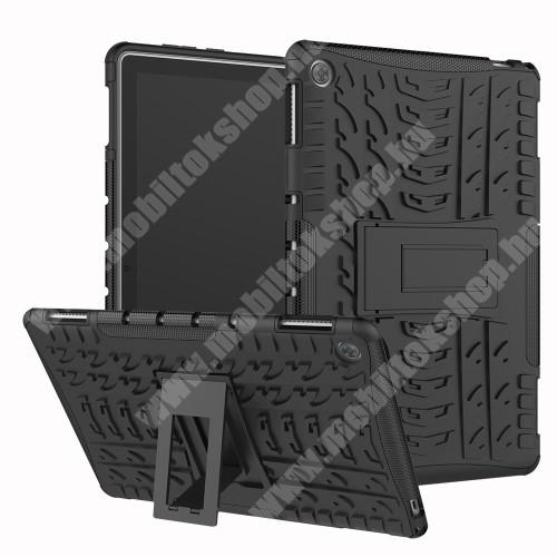 OTT! VROOM műanyag védő tok / hátlap - FEKETE - AUTÓGUMI MINTÁS - szilikon betétes, asztali tartó funkciós, ERŐS VÉDELEM! - HUAWEI MediaPad M5 Lite 10 / HUAWEI MediaPad C5 10