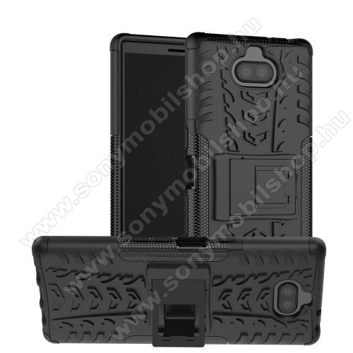 OTT! VROOM műanyag védő tok / hátlap - FEKETE - AUTÓGUMI MINTÁS - szilikon betétes, asztali tartó funkciós, ERŐS VÉDELEM! - Sony Xperia 10