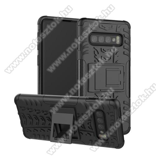 OTT! VROOM műanyag védő tok / hátlap - FEKETE - AUTÓGUMI MINTÁS - szilikon betétes, asztali tartó funkciós, ERŐS VÉDELEM! - SAMSUNG SM-G975F Galaxy S10+
