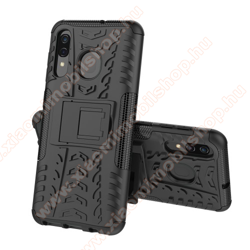 OTT! VROOM műanyag védő tok / hátlap - FEKETE - AUTÓGUMI MINTÁS - szilikon betétes, asztali tartó funkciós, ERŐS VÉDELEM! - SAMSUNG SM-A305F Galaxy A30 / SAMSUNG SM-A205F Galaxy A20 / SAMSUNG SM-M107F Galaxy M10s