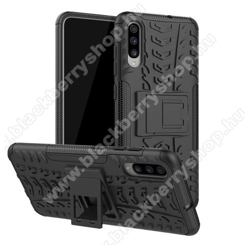 OTT! VROOM műanyag védő tok / hátlap - FEKETE - AUTÓGUMI MINTÁS - szilikon betétes, asztali tartó funkciós, ERŐS VÉDELEM! - SAMSUNG SM-A705F Galaxy A70