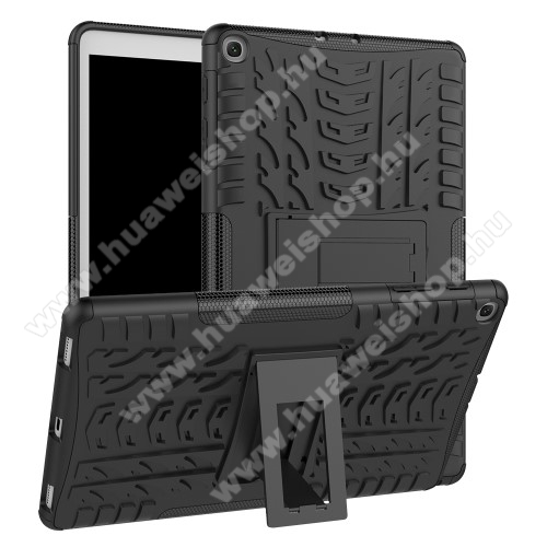 OTT! VROOM műanyag védő tok / hátlap - FEKETE - AUTÓGUMI MINTÁS - szilikon betétes, asztali tartó funkciós, ERŐS VÉDELEM! - SAMSUNG Galaxy Tab A 10.1 Wi-Fi (2019) (SM-T510) / SAMSUNG Galaxy Tab A 10.1 LTE (2019) (SM-T515)