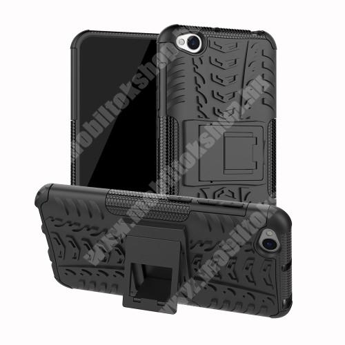 OTT! VROOM műanyag védő tok / hátlap - FEKETE - AUTÓGUMI MINTÁS - szilikon betétes, asztali tartó funkciós, ERŐS VÉDELEM! - Xiaomi Redmi Go