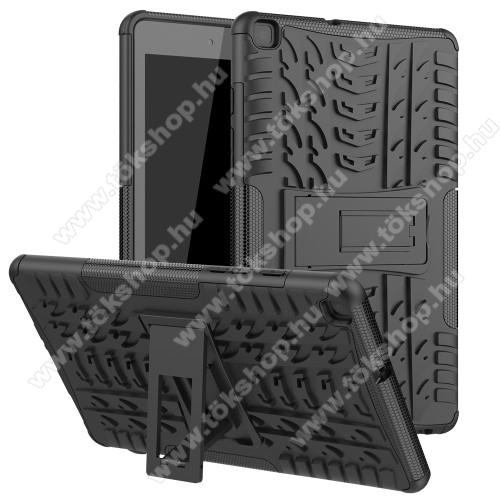 OTT! VROOM műanyag védő tok / hátlap - FEKETE - AUTÓGUMI MINTÁS - szilikon betétes, asztali tartó funkciós, ERŐS VÉDELEM! - SAMSUNG SM-T295 Galaxy Tab A 8.0 LTE (2019) / SAMSUNG SM-T290 Galaxy Tab A 8.0 Wi-Fi (2019)