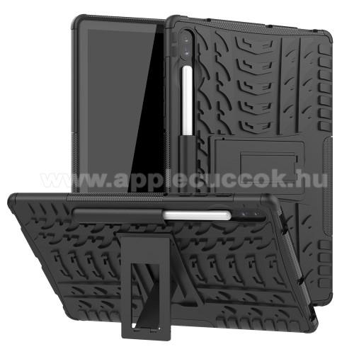 OTT! VROOM műanyag védő tok / hátlap - FEKETE - AUTÓGUMI MINTÁS - szilikon betétes, asztali tartó funkciós, ERŐS VÉDELEM! - SAMSUNG SM-T860 Galaxy Tab S6 (Wi-Fi) / SAMSUNG SM-T865 Galaxy Tab S6 (LTE)