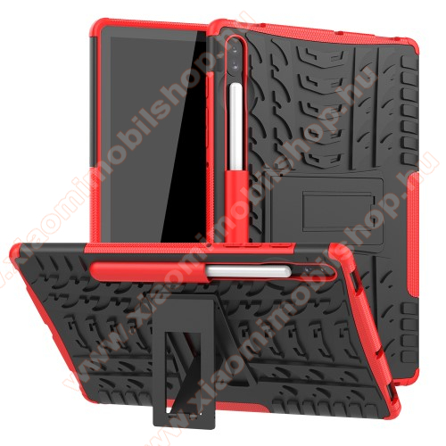 OTT! VROOM műanyag védő tok / hátlap - FEKETE / PIROS - AUTÓGUMI MINTÁS - szilikon betétes, asztali tartó funkciós, ERŐS VÉDELEM! - SAMSUNG SM-T860 Galaxy Tab S6 (Wi-Fi) / SAMSUNG SM-T865 Galaxy Tab S6 (LTE)