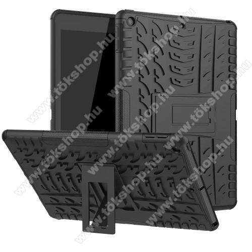 OTT! VROOM műanyag védő tok / hátlap - FEKETE - AUTÓGUMI MINTÁS - szilikon betétes, asztali tartó funkciós, ERŐS VÉDELEM! - APPLE iPad 10.2 (7th Generation) (2019)
