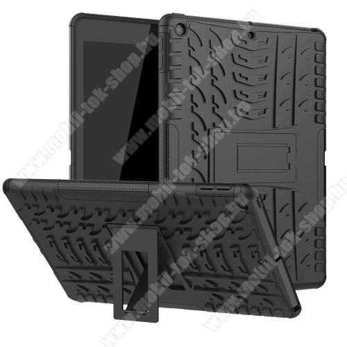 OTT! VROOM műanyag védő tok / hátlap - FEKETE - AUTÓGUMI MINTÁS - szilikon betétes, asztali tartó funkciós, ERŐS VÉDELEM! - APPLE iPad 10.2 (7th Generation) (2019) / iPad 10.2 (8th Generation) (2020)