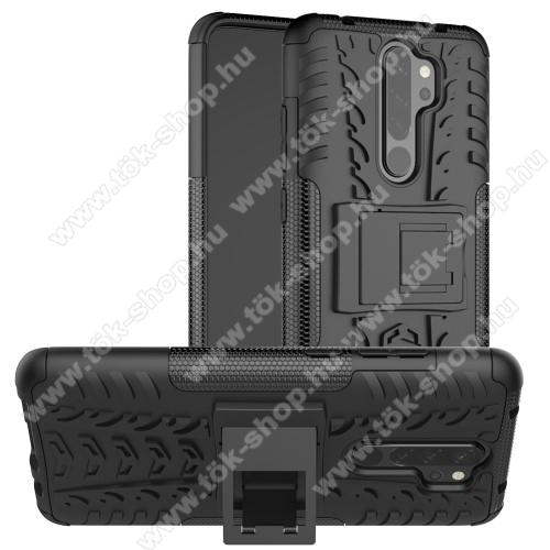 OTT! VROOM műanyag védő tok / hátlap - FEKETE - AUTÓGUMI MINTÁS - szilikon betétes, asztali tartó funkciós, ERŐS VÉDELEM! - Xiaomi Redmi Note 8 Pro