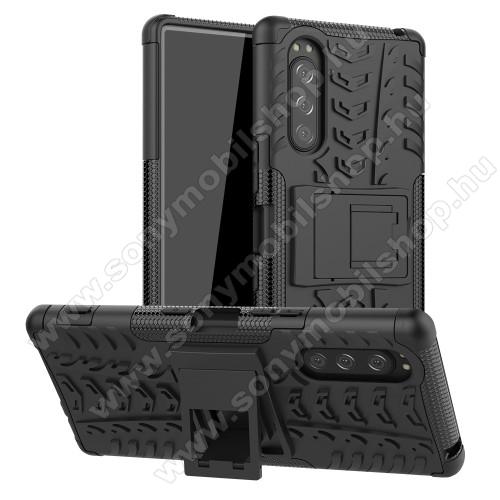 OTT! VROOM műanyag védő tok / hátlap - FEKETE - AUTÓGUMI MINTÁS - szilikon betétes, asztali tartó funkciós, ERŐS VÉDELEM! - Sony Xperia 5
