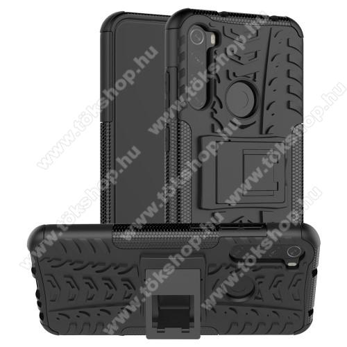 OTT! VROOM műanyag védő tok / hátlap - FEKETE - AUTÓGUMI MINTÁS - szilikon betétes, asztali tartó funkciós, ERŐS VÉDELEM! - Xiaomi Redmi Note 8T