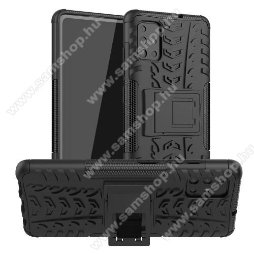 SAMSUNG Galaxy A51 (SM-A515F)OTT! VROOM műanyag védő tok / hátlap - FEKETE - AUTÓGUMI MINTÁS - szilikon betétes, asztali tartó funkciós, ERŐS VÉDELEM! - SAMSUNG Galaxy A51 (SM-A515F)