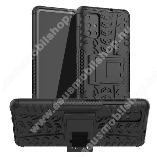 OTT! VROOM műanyag védő tok / hátlap - FEKETE - AUTÓGUMI MINTÁS - szilikon betétes, asztali tartó funkciós, ERŐS VÉDELEM! - SAMSUNG Galaxy A51 (SM-A515F)