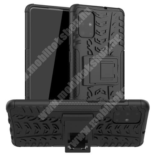 OTT! VROOM műanyag védő tok / hátlap - FEKETE - AUTÓGUMI MINTÁS - szilikon betétes, asztali tartó funkciós, ERŐS VÉDELEM! - SAMSUNG Galaxy A71 (SM-A715F)