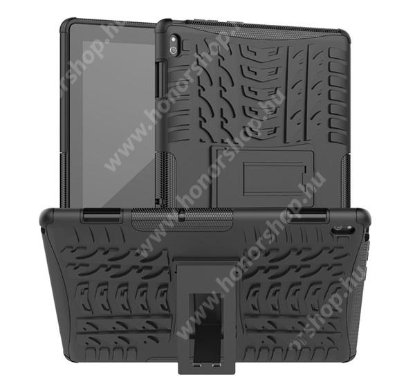 OTT! VROOM műanyag védő tok / hátlap - FEKETE - AUTÓGUMI MINTÁS - szilikon betétes, asztali tartó funkciós, ERŐS VÉDELEM! - Lenovo Tab E10