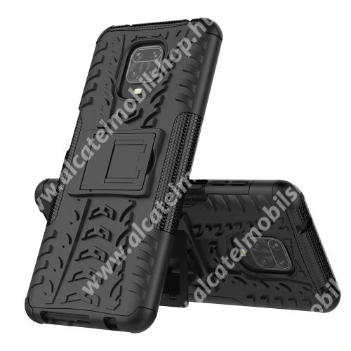 OTT! VROOM műanyag védő tok / hátlap - FEKETE - AUTÓGUMI MINTÁS - szilikon betétes, asztali tartó funkciós, ERŐS VÉDELEM! - Xiaomi Redmi Note 9S / Redmi Note 9 Pro / Redmi Note 9 Pro Max / Poco M2 Pro