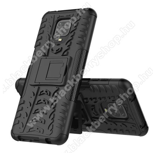 OTT! VROOM műanyag védő tok / hátlap - FEKETE - AUTÓGUMI MINTÁS - szilikon betétes, asztali tartó funkciós, ERŐS VÉDELEM! - Xiaomi Redmi Note 9S / Xiaomi Redmi Note 9 Pro / Xiaomi Redmi Note 9 Pro Max