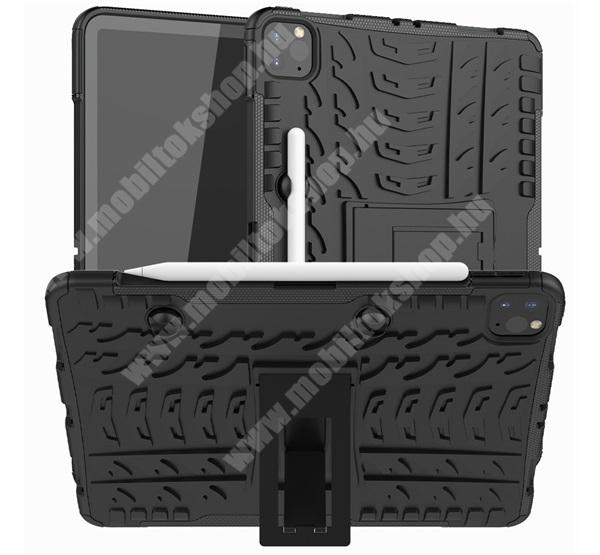OTT! VROOM műanyag védő tok / hátlap - FEKETE - AUTÓGUMI MINTÁS - szilikon betétes, ceruzatartó, asztali tartó funkciós, ERŐS VÉDELEM! - APPLE iPad Pro 11 (2020)