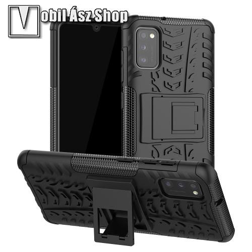 OTT! VROOM műanyag védő tok / hátlap - FEKETE - AUTÓGUMI MINTÁS - szilikon betétes, asztali tartó funkciós, ERŐS VÉDELEM! - SAMSUNG Galaxy A41 (SM-A415F)