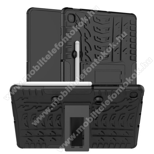 OTT! VROOM műanyag védő tok / hátlap - FEKETE - AUTÓGUMI MINTÁS - szilikon betétes, asztali tartó funkciós, ceruza tartó, ERŐS VÉDELEM! - SAMSUNG SM-P610 Galaxy Tab S6 Lite (Wi-Fi) / SAMSUNG SM-P615 Galaxy Tab S6 Lite (LTE)