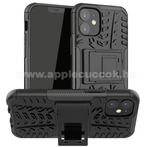 OTT! VROOM műanyag védő tok / hátlap - FEKETE - AUTÓGUMI MINTÁS - szilikon betétes, asztali tartó funkciós, ERŐS VÉDELEM! - APPLE iPhone 12 mini
